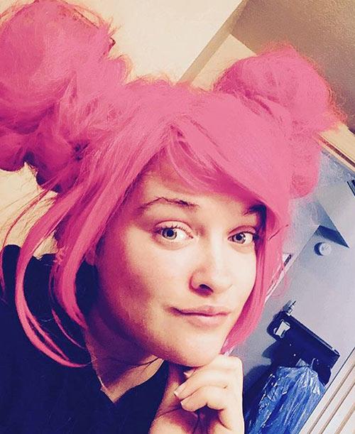 Bubblegum Pink Emo Hair Buns