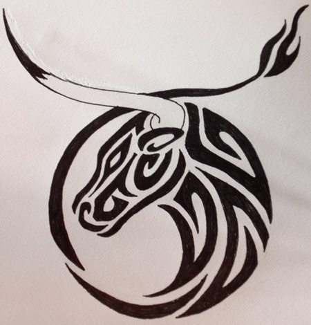 Bull Head Outline Tattoo