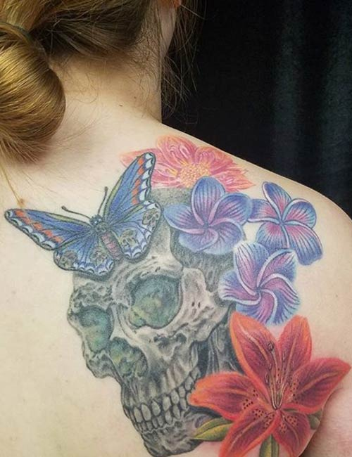 Colorful Skull Tattoo On Back Of Shoulder