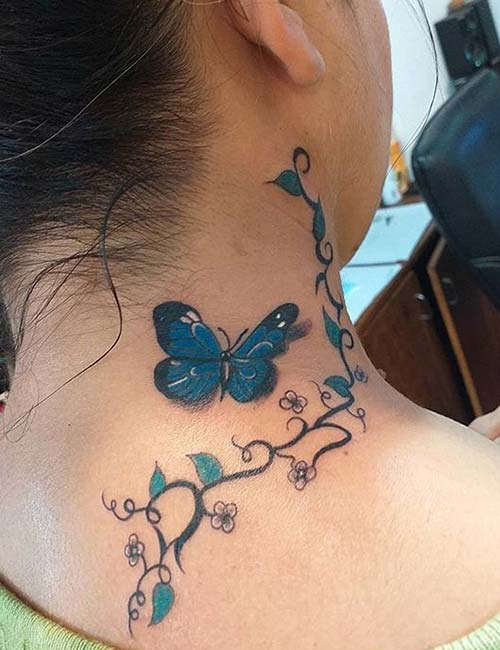 3D Butterfly Neck Tattoo Design