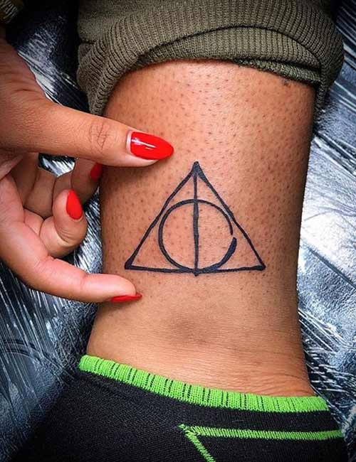 Deathly Hallows Ankle Tattoo