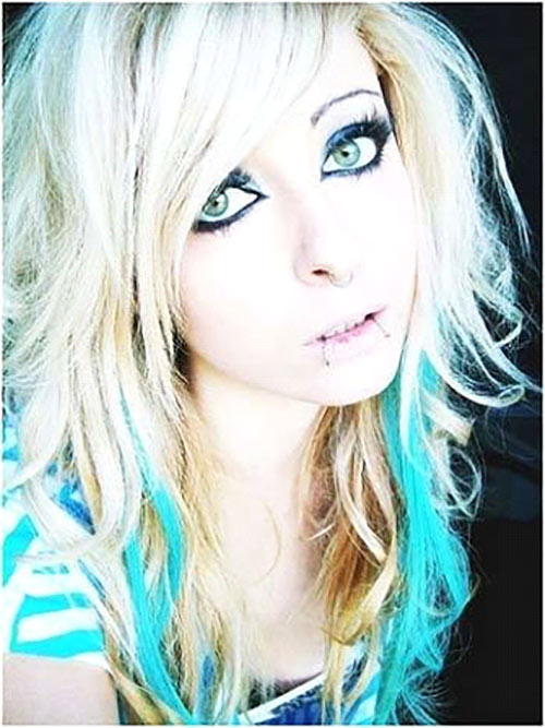Emo Curls With Turquoise Streaks