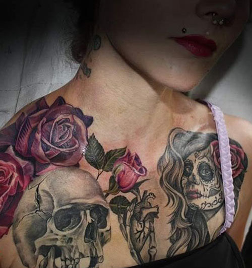 Extreme Skull Tattoo On Shoulder