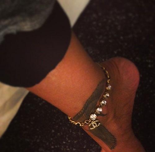 Rihanna Falcon Ankle Tattoo