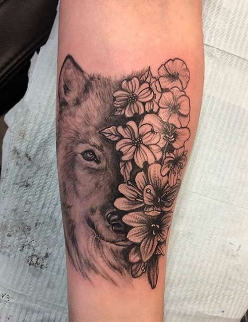 Floral Wolf Tattoo