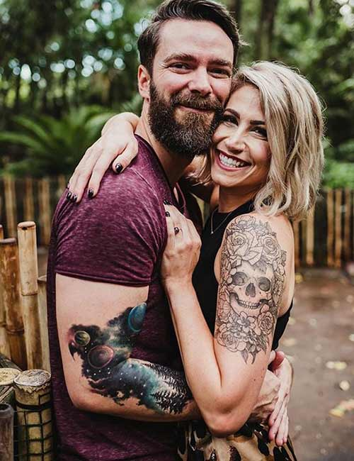Half Sleeve Skull Tattoos For Couples