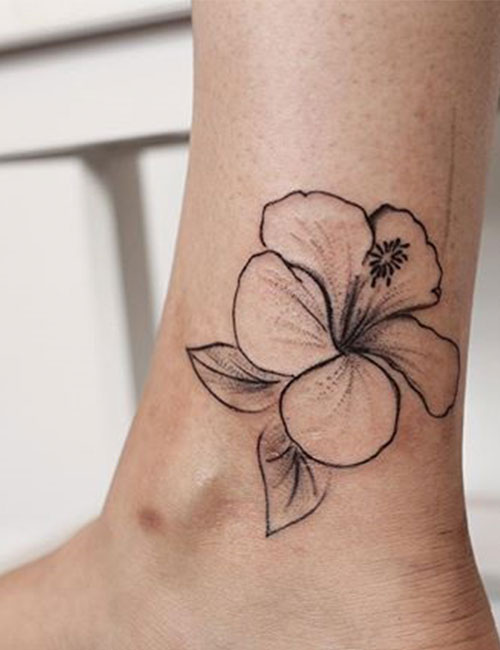 Hawaiian Hibiscus Ankle Tattoo