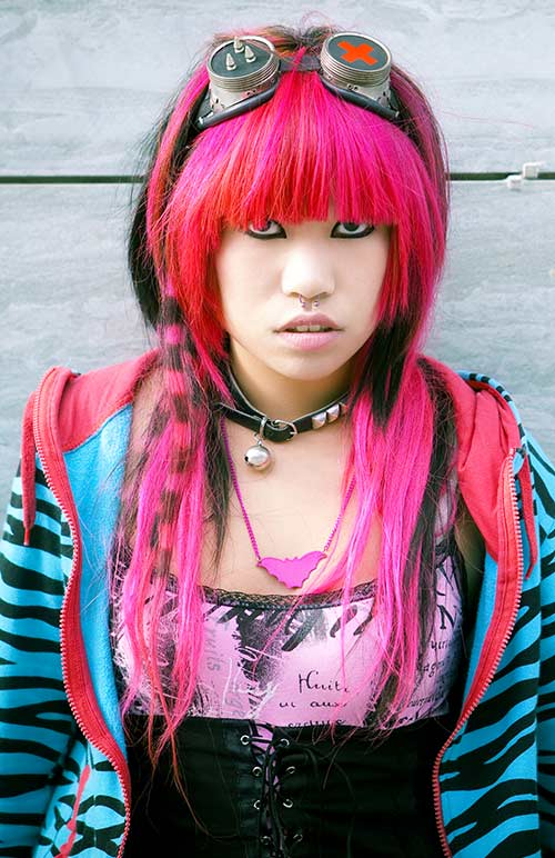 Hot Pink Layered Emo With Fringes