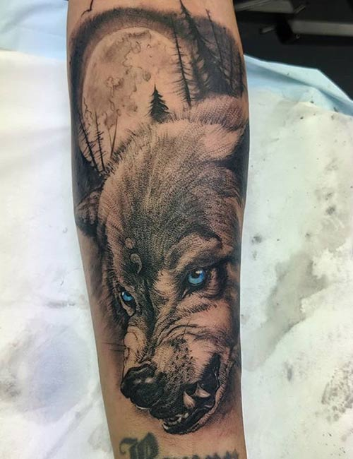 Hunting Wolf Tattoo