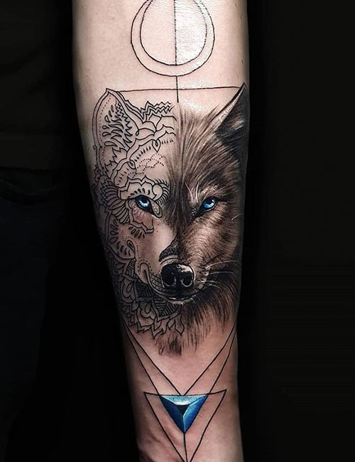 Jewel Wolf Tattoo