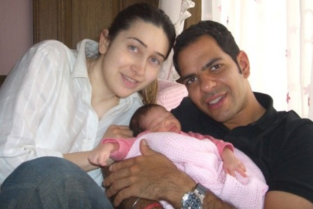 Karishma Kapoor and Sanjay Kapoor with their Baby