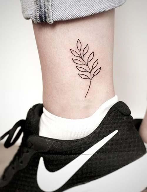 Leaf Ankle Tattoo