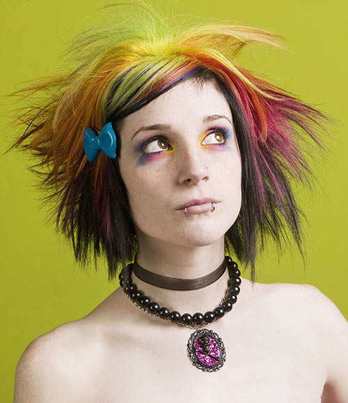 Multicolored spiky emo hairdo