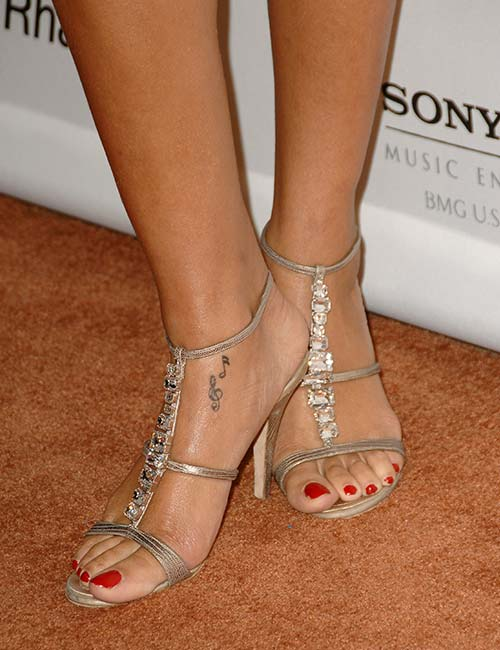 Rihanna Music Notes Tattoo On Her Foot
