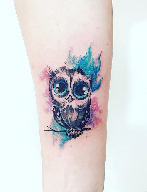 Small Watercolor Owl Tattoo