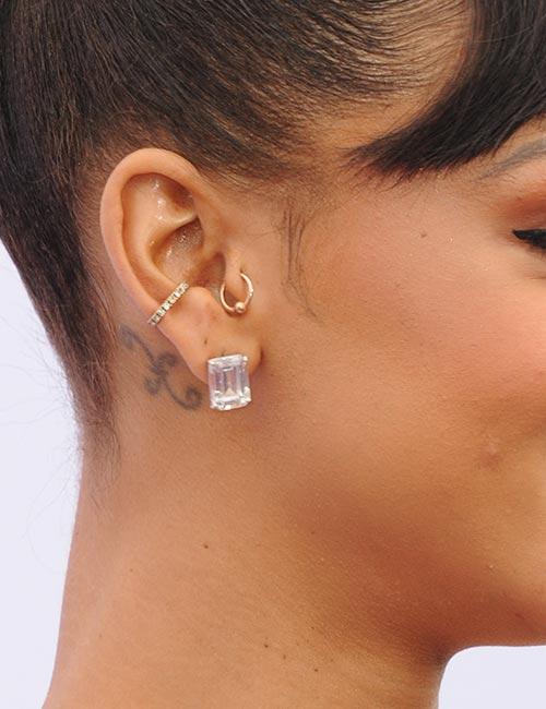 Rihanna Pisces Symbol Behind Her Ear