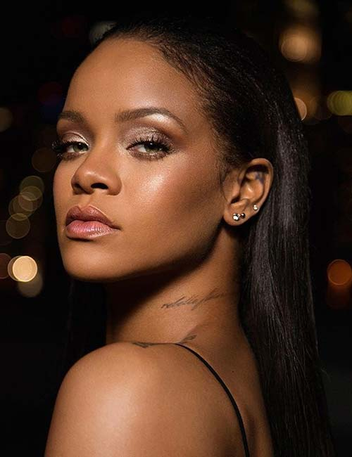 Rihanna Rebelle Fleur Tattoo On Her Neck