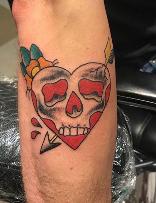 Romantic Skull Tattoo On Sleeve