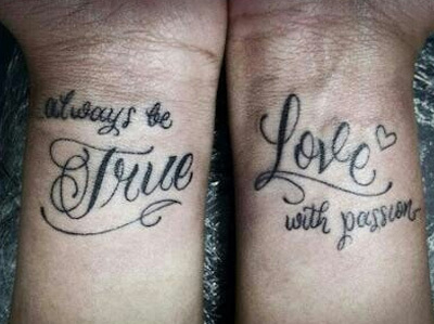 Slogan couple tattoos