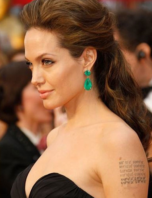 Angelina Jolie Tattoos - Geographical Coordinates On Her Left Arm