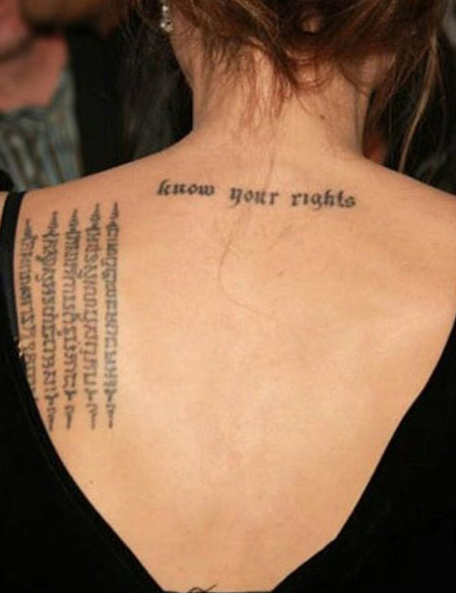 Angelina Jolie Tattoos - Know Your Rights