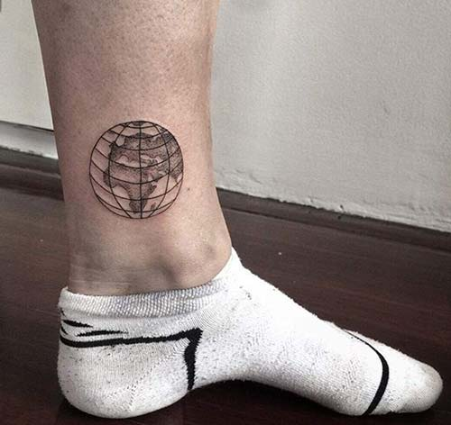 The World At Your Feet Ankle Tattoo