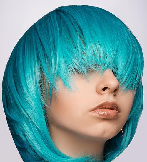 Turquoise Round Bob With Fringes