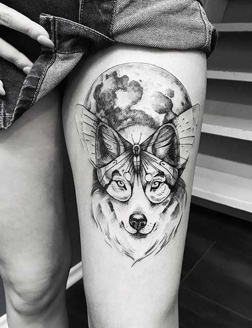 Wolf Butterfly Tattoo