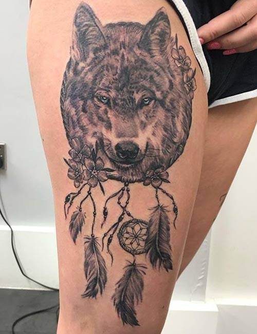 Wolves With Dreamcatchers Tattoo