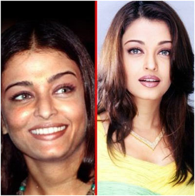 Aishwarya Rai With And Without Makeup