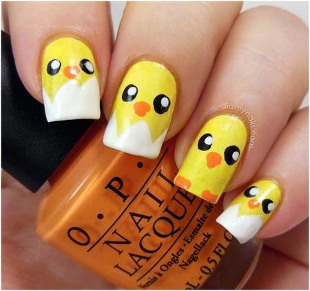 Baby chick nails: - 50 Animal Themed Nail Art Designs To Inspire You