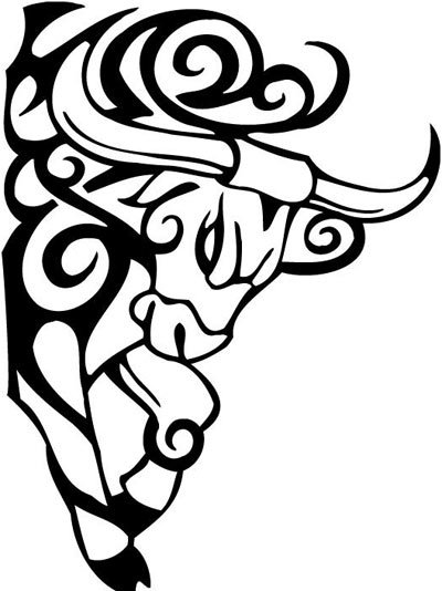bull outline tattoo