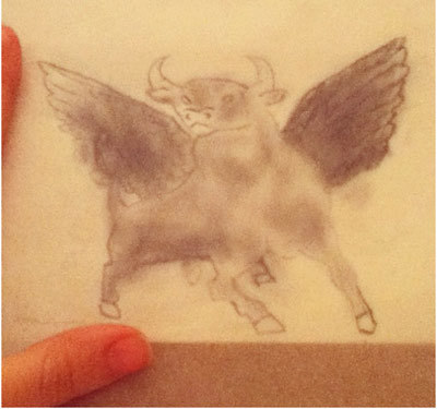 bull with wings tattoo