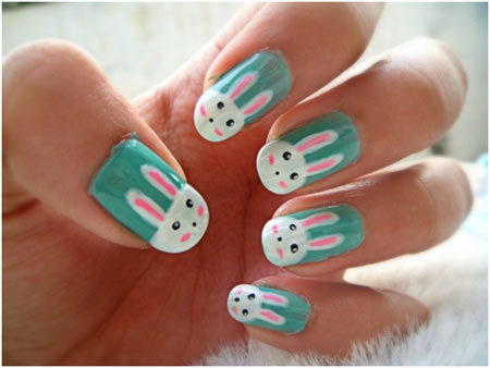 50 animal themed nail art designs to inspire you bunny rabbit nails save this animal nail art prinsesfo Choice Image