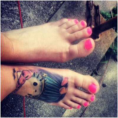 cartoon foot tattoos