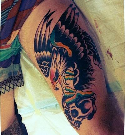 coloured eagle tattoo