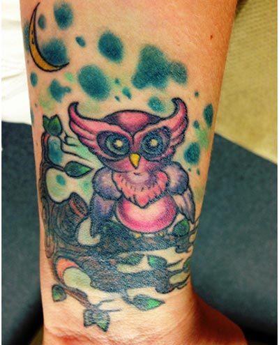 coloured owl tattoos