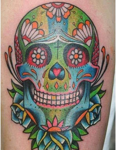 colourful skull tattoo