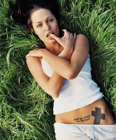 Angelina Jolie Tattoos Cross
