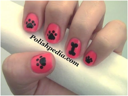 dog paw print nails