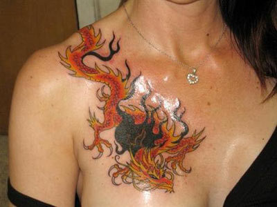 dragon tattoo on chest