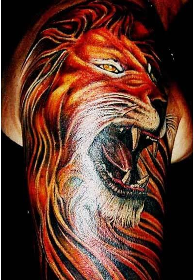 full lion body tattoo