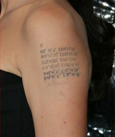 Angelina Jolie Tattoos - 2. Geographical Coordinates