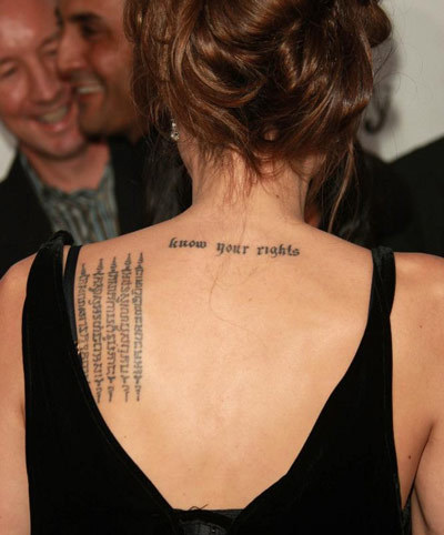Angelina Jolie Tattoos - 1. Know Your Rights