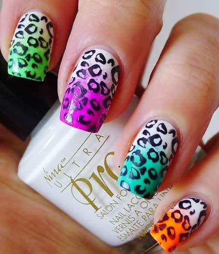 leopard print nails design