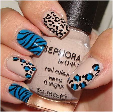Mix and match animal print nails: - 50 Animal Themed Nail Art Designs To Inspire You