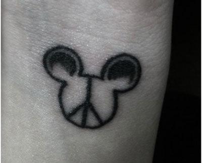 mouse infused peace tattoo