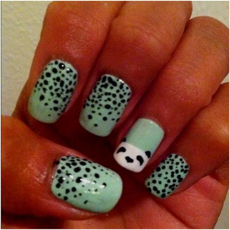 panda nails - 50 Animal Themed Nail Art Designs To Inspire You