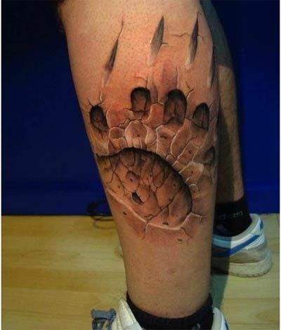 Tatto Idea on Paw Print Tattoo Can Be Given 3d Touches By Inserting Cracking