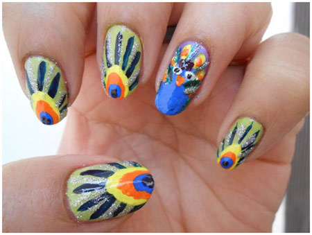 peacock nails design